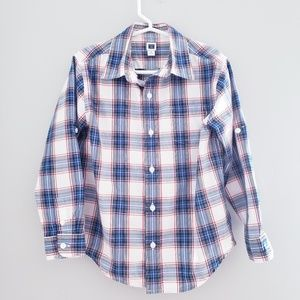 Janie and Jack 5 plaid shirt blue red button down